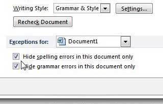 отключить проверку орфографии только для текущего документа