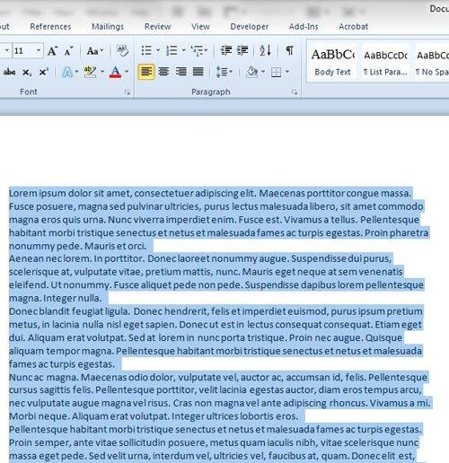Как сделать двойной пробел в существующем документе в Word 2010