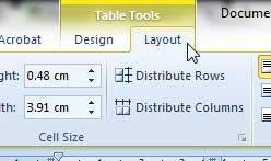 вкладки инструментов таблицы