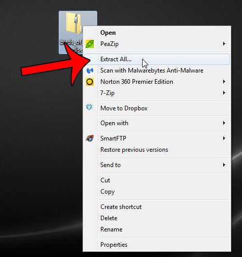 щелкните файл правой кнопкой мыши, затем нажмите «извлечь все»