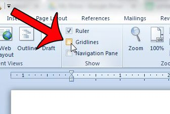 uncheck the box to the left of gridlines