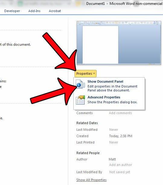 щелкните свойства, затем отобразите панель документа