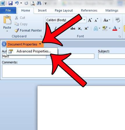 щелкните свойства документа, затем дополнительные свойства