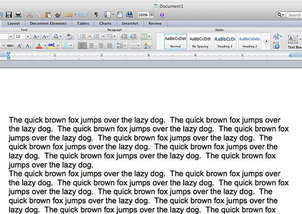 образец текста в слове 2011 для Mac