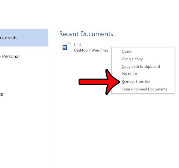 удалить документ из списка последних документов