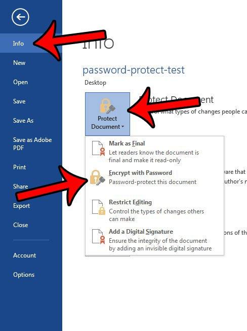 как защитить паролем документ word 2013