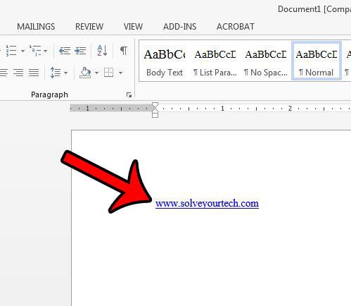 найдите гиперссылку в вашем документе