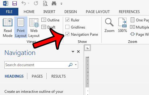 откройте панель навигации в Word 2013