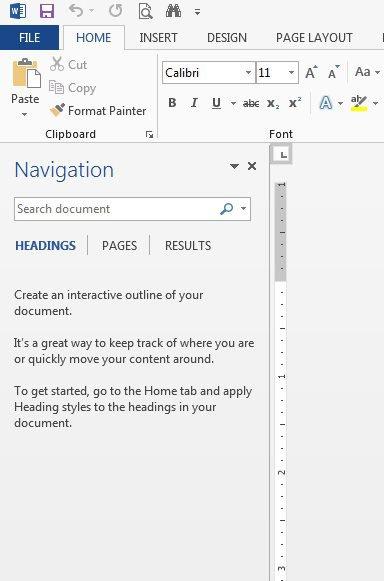 Панель навигации Word 2013