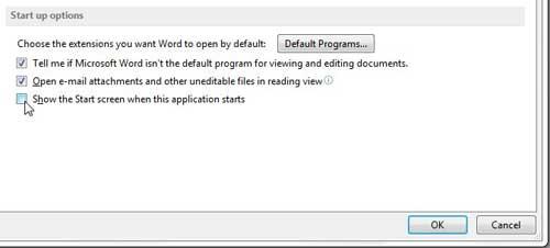 перестать показывать стартовый экран при запуске Word 2013