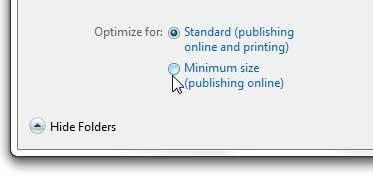 выберите файл стандартного или минимального размера