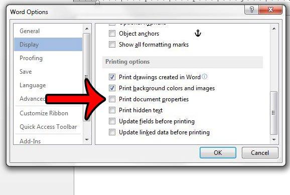 прекратить печать свойств документа в Word 2013