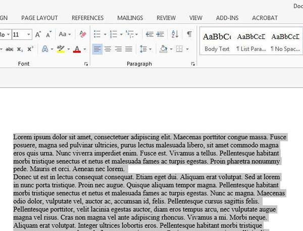 выделите текст в документе Word 2013