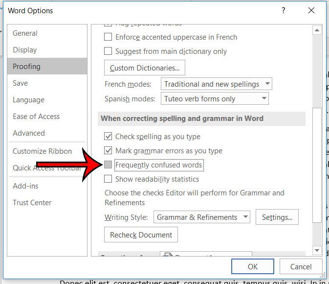 как перестать исправлять часто путающие слова в слове Microsoft