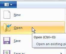 откройте файл изображения в Microsoft Paint